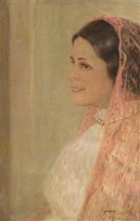 the pink shawl - portrait of elizabeth borden hewitt by frank hector tompkins
