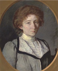 portrait of a lady in a blue coat by charles-jean agard
