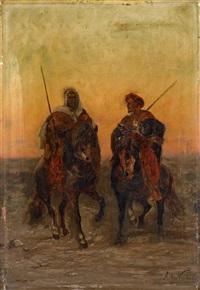 zwei araber zu pferde by alphonse marie de neuville