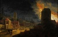 incendio nocturno en una ciudad by daniel van heil