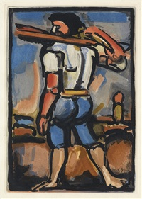 aide-borreau portant un des bois de la croix, vers la gauche * juges * les fleurs du mal by georges rouault