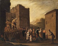 actors of commedia dell'arte performing before a village by johannes lingelbach