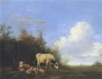 kühe und schafe auf der weide by johannes jacobus (jan) heppener