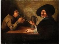 zwei holländische pfeifenraucher am tisch by michael sweerts