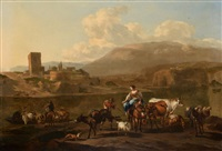 classical landscape with figures and animals by nicolaes berchem