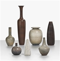 group of seven vases (5 works) by rörstrands porslinsfabriker (co.)
