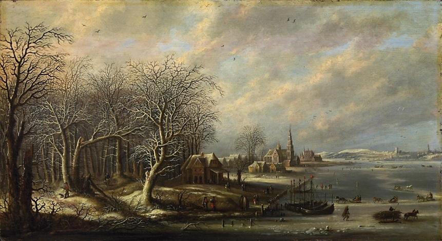 weite winterliche flusslandschaft mit zahlreichen boots und staffagefiguren by denis van alsloot