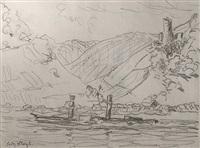 blick über den befahrenen rhein auf die burg fürstenberg (from sketchbook) by fritz bleyl