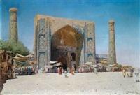 samarkand, moschee und medres (ullug beg) aufgebaut in der zeit von p. x. emir by a. saretzky