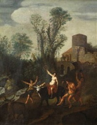ländliches bacchanal mit tanzendem satyr und nymphen by claes nicolas jacobsz tol