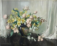 spring flowers in french porcelain - tulips and narcissi by vernon ward