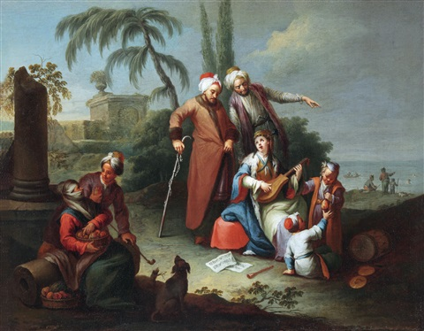 orientalische szene another similar 2 works by karl joseph aigen