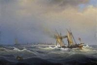 raddampfer vor holländischer hafenstadt by johann baptist weiss