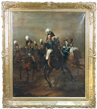 cavalry study of tsar nicholas i of russia, with his brother, the grand duke michael, the tsarevich alexander and prince wolkonsky, on chargers in a landscape by franz krüger