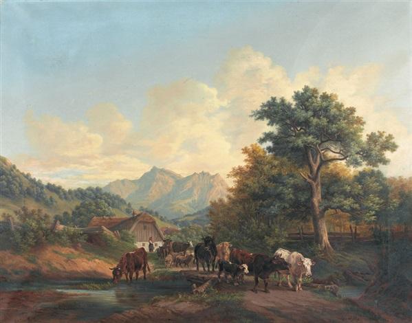 sommerliche landschaftspartie mit kühen und schafen by aloys ab yberg