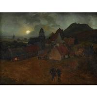 landschaft mit dorf im mondlicht by andreas achenbach