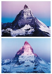 flip a mountain (purple version) (diptych) by marijke van warmerdam
