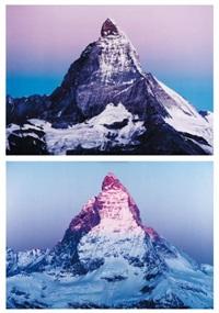 flip a mountain (purple version) (diptych) by marijke van warmerdam