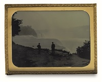 two figures at niagara falls by platt d. babbitt