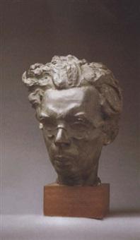portrait bust of aldous huxley by sava botzaris
