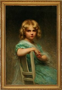 portrait of a girl in a green dress by edouard cabane