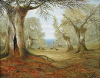 red deer in a forest clearing by cecil gordon lawson
