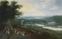 weite flusslandschaft mit reisenden und tanzenden bauern auf einem pfad, im hintergrund eine klosteranlage by jan brueghel the younger and lucas van uden
