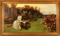young lady in a flower garden by william gilbert foster