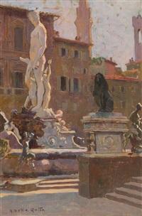 piazza della signoria e piazza san lorenzo (pair) by anacleto nino della gatta