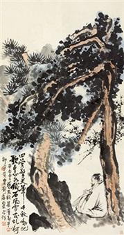 松荫抚琴 立轴 纸本 by liu haisu