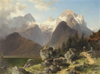 an alpine landscape with an old woman on a pathway by josef holzer