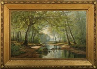 forest scenery on a sunny spring day by a. jacobson