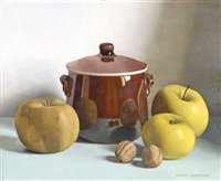 still life of fruit, walnuts and a brown pot by jacques blanchard