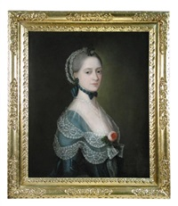 portrait presumed to be of ann anstey (died 1812) half length in blue with lace trimmings, a rose on her breast by thomas gainsborough