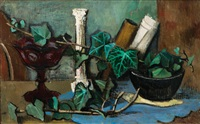 still life with column and ivy by friedrich (fritz) ahlers-hestermann