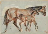 bay mare and foal by raoul millais