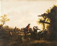 paesaggio con cavaliere by philips wouwerman
