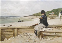 woman reading at the seashore by ferdinand heilbuth