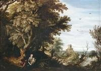 bewaldete landschaft mit der heiligen familie in der ruhe auf der flucht by alexander keirincx