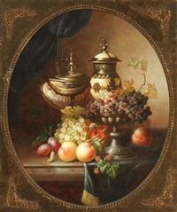 still life of fruit and vessels on a ledge by jean laurent