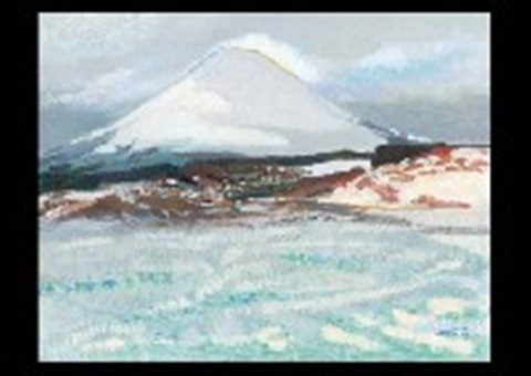 mt fuji with snow in the village by hitoshi yamaba