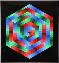 composition in blue, red and green by victor vasarely