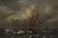 shipping scene on stormy seas by jean laurent