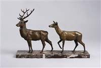 cerf et biche (2 works) by hippolyte peyrol and isidore bonheur