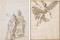 hercules y minerva (recto); angel anunciación (verso) by giovanni battista tiepolo