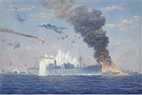 the malta convoy pedestal under attack by j.u.-88's near cape bon, august, 1942 by oswald longfield brett