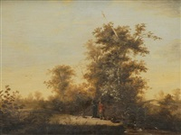 landschaft mit zwei anglern by frederick de moucheron