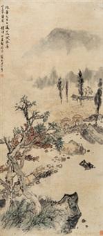 山村图 立轴 纸本 by guan shanyue