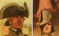 historic military dress uniform (+ another, smlr, oil on board; 2 works) by pierce rice