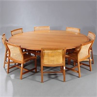 kings furniture (1 table and 8 chairs; set of 9) by rud thygesen and johnny sorensen